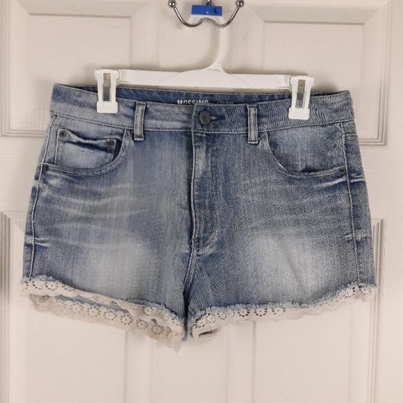 Mossimo High Rise Lace Trim Jean Shorts Daisy Duke
